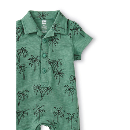 Camp Collar Romper: Palm Trees