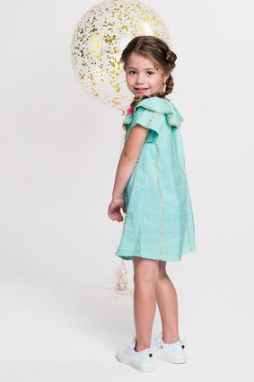 Mint green Mim short sleeve dress with gold accents