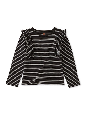 Striped Ruffle Flutter Top - Jet Black