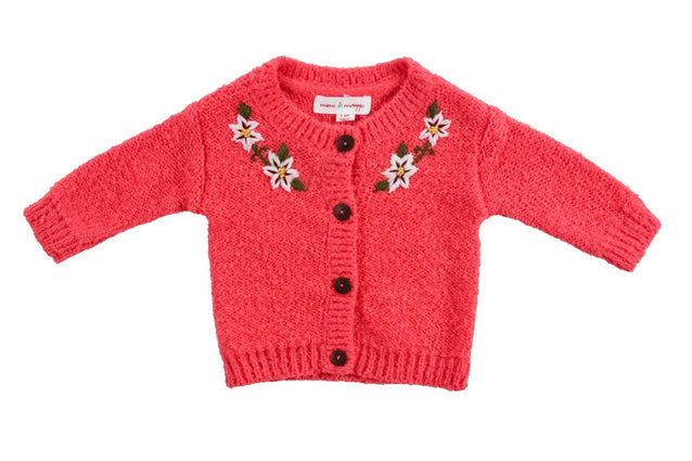 Hand Embroidered Flower Cardigan - Baby