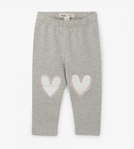 Matching Hearts Baby Leggings - Athletic Grey