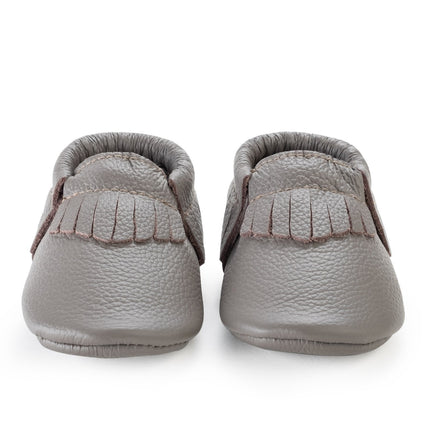 Slate Genuine Leather Baby Moccasins