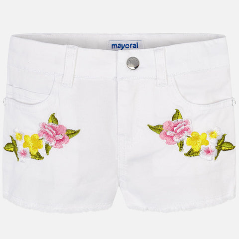 Twill embroid.shorts White