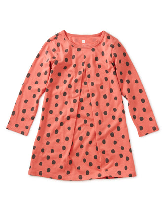Printed Pleat Dress - Leopard Spots - Pink Tulip