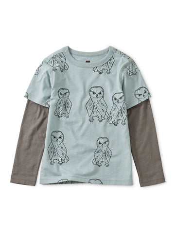 Printed Layered Sleeve Tee: Owl Play