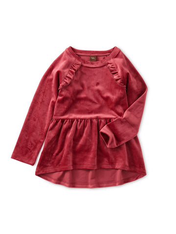 Velour Tunic Ruffle Top: Earth Red