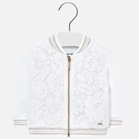 Knit lace pullover White