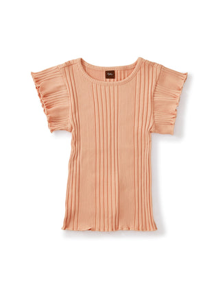 Coral: Variegated Rib Flutter Top