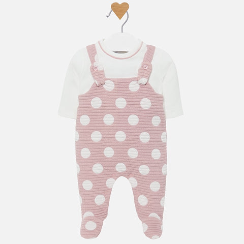 Pink Polkadot Footed Romper