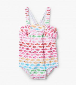 Watercolour fishies baby ruffle swimsuit