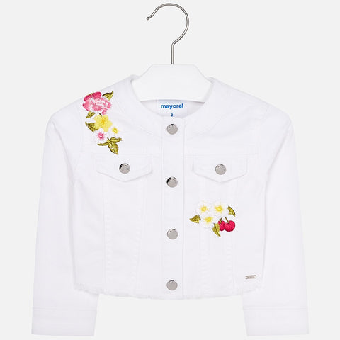 Embroidered twill jacket White
