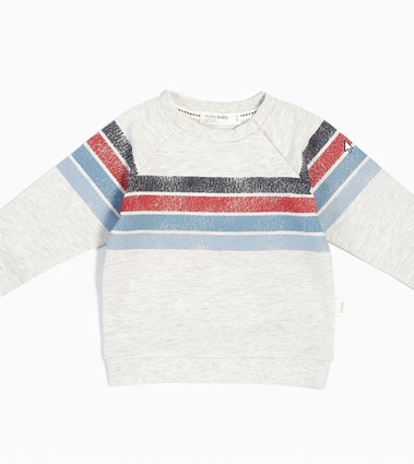 Light Heather Grey & Blue Striped Sweater