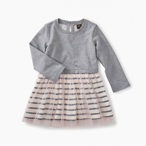 Striped Tulle Skirted Dress Med Heather Grey