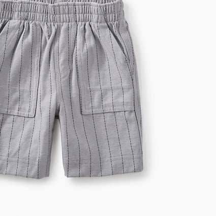 Striped Playwear Baby Shorts - Storm Grey Ticking Stripe