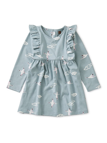 Crane Cloud Ruffle Baby Dress - Crane Skies