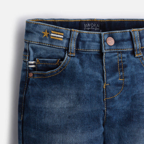 Pique Slim Fit Denim Pants