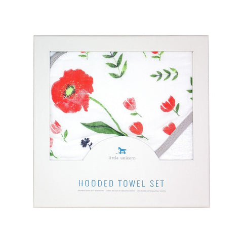 Summer Poppy Hooded Towel and Washcloth Set