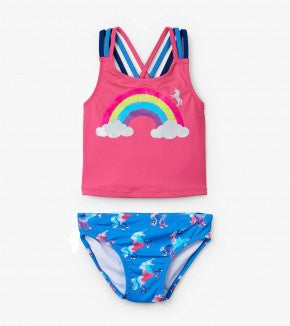 Rainbow unicorns sporty tankini set