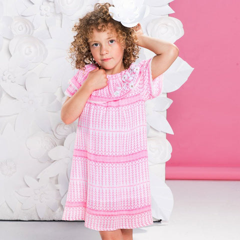 Mim Dress Pink girls' short sleeve with white embroidered flowers