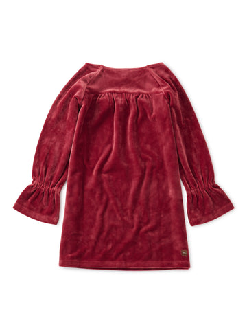 Velour Bell Sleeve Dress - Earth Red