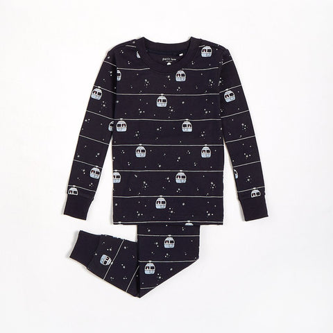 "Navy ""Ski Lift"" Pajama Set with Organic Cotton (2 pcs.)"