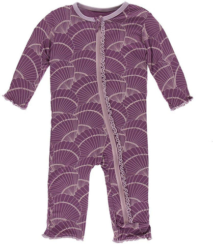 Shell Fossils - Print Muffin Ruffle Coverall with Zipper