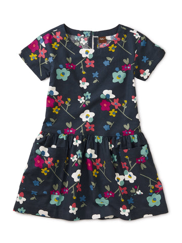 Printed Woven Pocket Dress: Himalayan Blossoms - Indigo