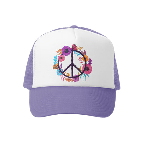 Boho Peace Lav/Wht Trucker Hat