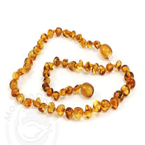 Momma Goose Baby Amber Baroque Necklace in Honey