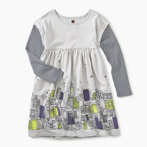Vapor Layered Sleeve Graphic Dress