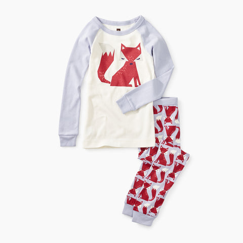 Friendly Fox Graphic Pajamas Chalk