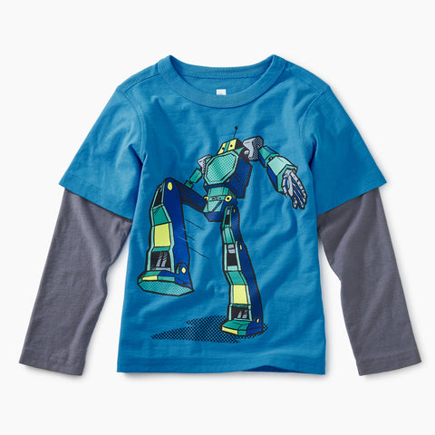 Swedish Blue Robot Layered Graphic Tee