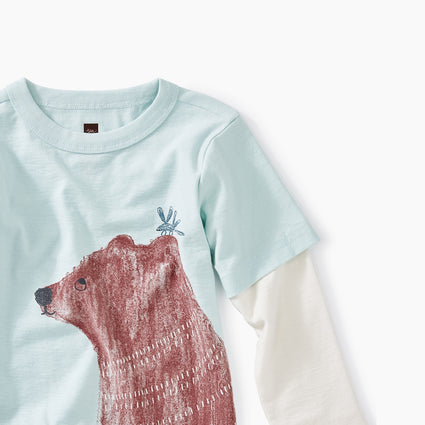 Key Blue Brown Bear Layered Graphic Tee