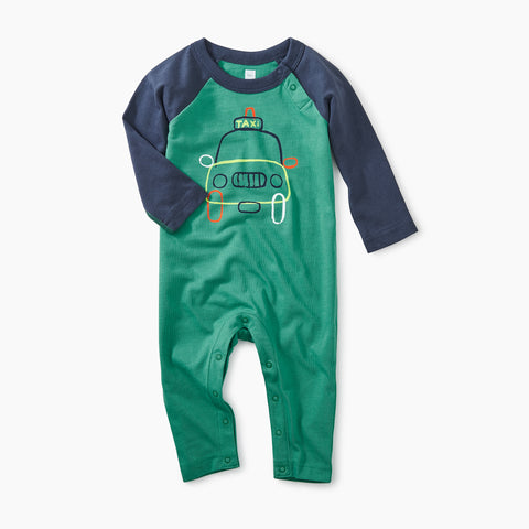 Spinach Joy Ride Raglan Grphic Romper