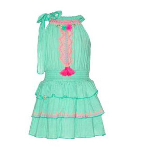Mint green sleeveless girls' dress with pink tassels and trimming