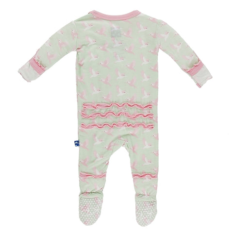 Kickee Pants Kingfisher Print Ruffle Footie