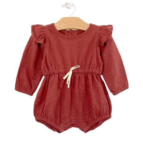 Slub Shorty Romper: Paprika