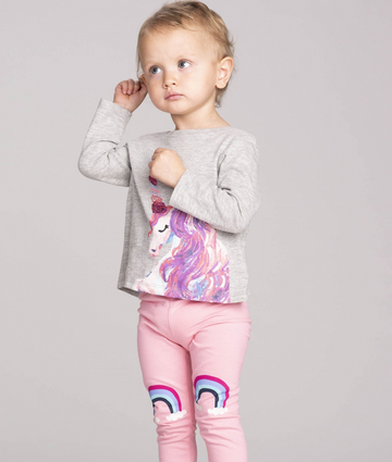 Enchanted Unicorn Long Sleeve Baby Tee - Athletic Grey