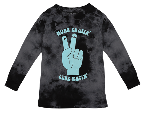 More Skatin' Less Hatin L/S Tee- Black Tie Dye