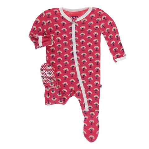 Red Mini Trees Muffin Ruffle Footie with Zipper