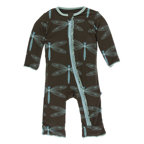 Giant Dragonfly - Print Muffin Ruffle Coverall with Zipper