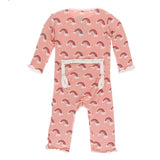 Blush Rainbow Muffin Ruffle Footie with Zipper