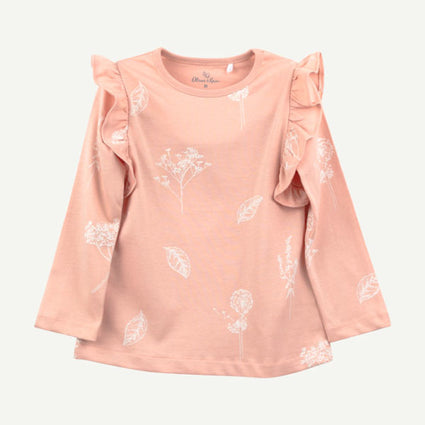 Toddler Pink Floral Ruffle Top