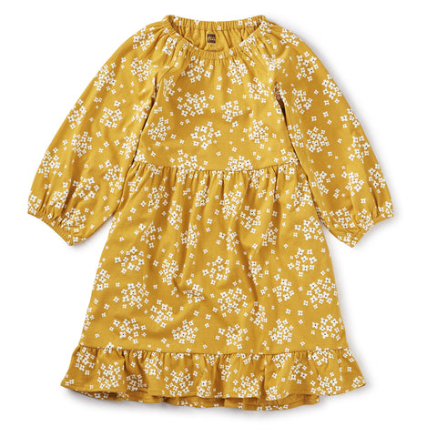 Ruffle Hem Dress - Golden Wildflowers