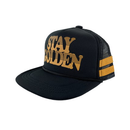 Stay Golden Trucker Hat: Black
