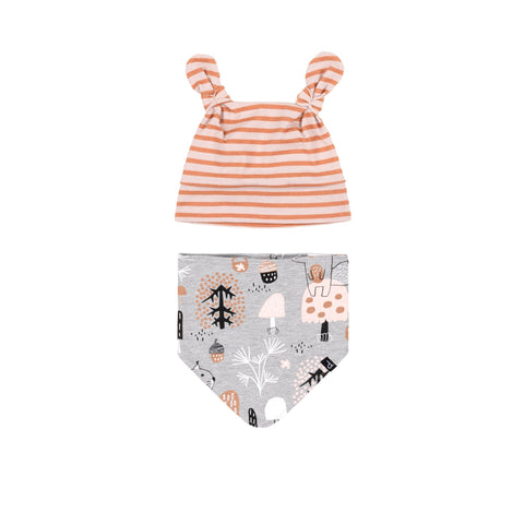 Printed Hat and Bib Set: Striped Squirel