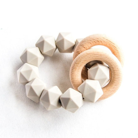 Abby Teething Rattle - Taupe
