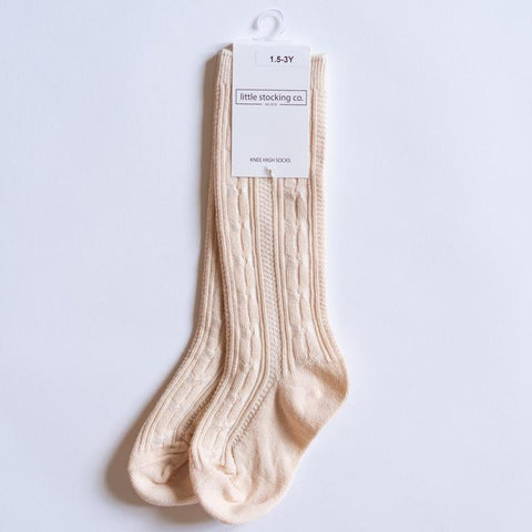 Vanilla Cream Cable Knit Knee High Socks