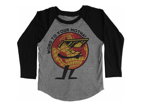 Word To Your Motha Raglan Tee - Tri Gray / Black