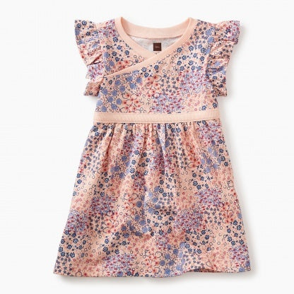 Wrap Neck Baby Dress - Pink Gloss Mini Floral Patch